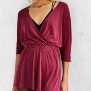 Urban outfitters NWOT maroon plunge romper